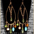 Antique Style Goldtone Oval Chandelier Earrings - A0010
