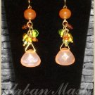 Goldtone Multi Beaded Dangle Earrings in Coral and Peach Tones - A011