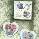 Precious Moments Porcelain Heart Ornaments Set of Two