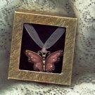 Butterfly Rhinestone Necklace Pink Choker Ribbon Pink