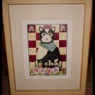 Le Chat Cat Picture Bistro Style Framed