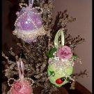 Victorian Shabby Glitter Eggs Chic OOAK Set of Three