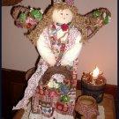 "Country Primitive Angel Doll Grapevile Floral Decor 21"""
