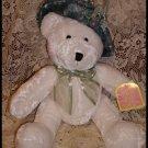"""Dan Dee White Bear Blue Velvet Shabby Hat Silk Flowers Easter Plush Pal 10"""""""