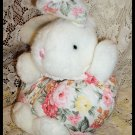 Round Shabby Bunny Rabbit Pink Roses Bow Ears