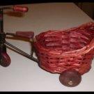 Wicker Teddy Bear Doll Bike With Wooden Wheels