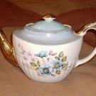 Gibson Staffordshire Teapot Blue Floral Gold Trim W801 Vintage UK