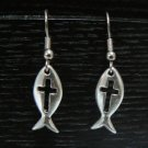 Pewter Fish w/ Cross Earrings