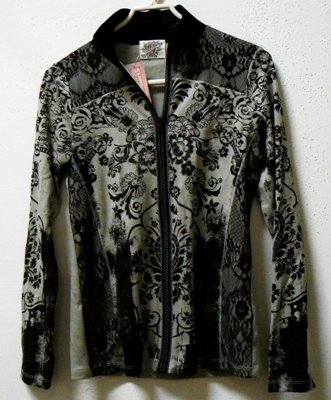 SKINNY MINNIE Long Sleeve Zipper Shirt/Cardigan/Jacket Black/Khaki-Green- Medium