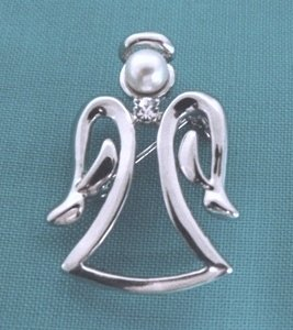 Silver Toned Angel Pin with Pearl