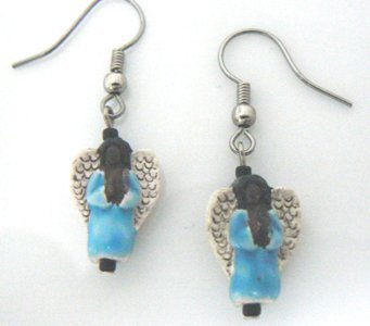 Hand Painted Ceramic Dangle Angel Earrings #02