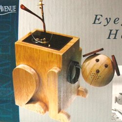 Bobble Head Wooden Dog Eyeglass / Remote Control Holder