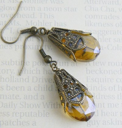 Amber Glass Drop Earrings