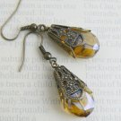 Amber Glass Drop Earrings