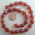 "Faceted Glass Teardrop Drop Beads 10x13mm - 16"" Strand - Rust"