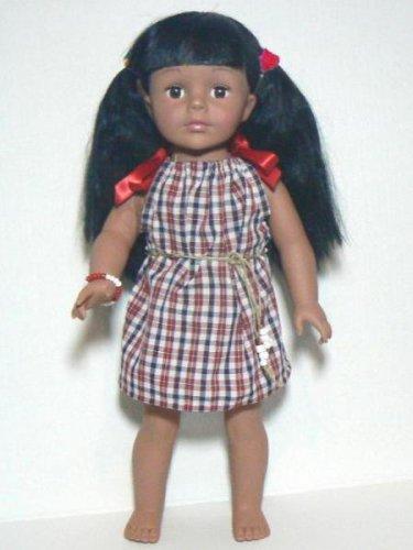 Handmade Pillowcase Dress for 18� Doll � Mini Plaid, Red, White & Blue