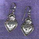 Cat Earrings Puffed Heart Sterling Silver