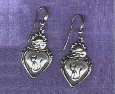 Cat Earrings Puffed Heart Sterling Silver