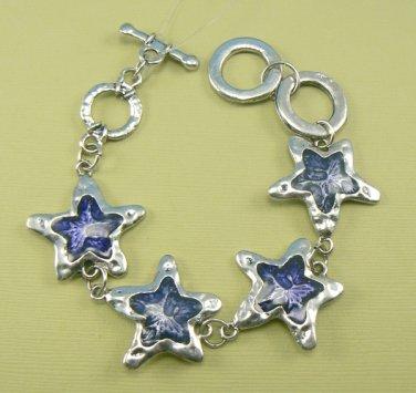 Blue Star Glass & Metal Bracelet w/ Adjustable Toggle Clasp