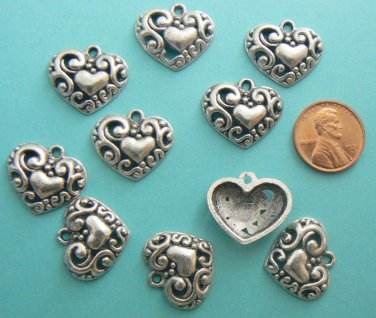 Heart Charms - Silver Metal - Lot of 10