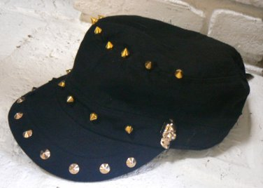 D&Y Womens Hat Cadet Baseball Cap w/ Skulls Spikes - Black / Gold / Distressed NWT