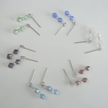Rough Cut Glass Wire Wrapped Earrings for Tonner / Barbie Dolls Handmade - Six (6) Pairs / Colors