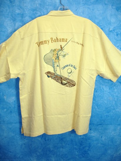 TOMMY Bahama SILK embroidered Chairman-of-the-Board SIGNATURE CAMP SHIRT mens Size L Large NEW
