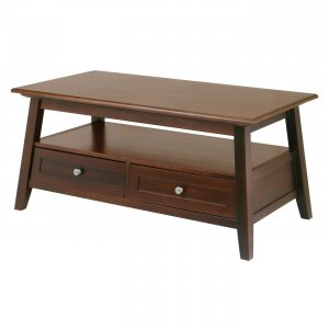 Winsome Wood Angolo Coffee Table with Shelf and two drawers-Antique Walnut