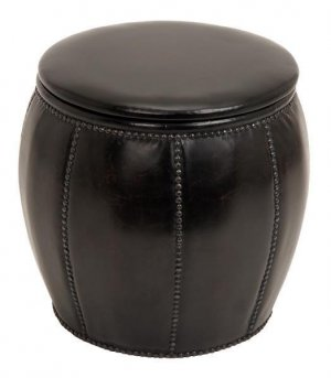 Black Leather Barrel Ottoman Footstool With Storage