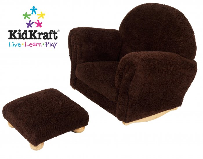 Kidkraft Chocolate Chenille Upholstered Rocker & Ottoman