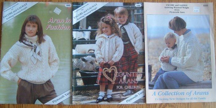 Lot of 3 ARAN Knitting Pattern Books Plymouth Yarn Knit
