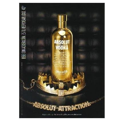 ABSOLUT ATTRACTION Vodka Magazine Ad w/ BLING BLING Bottle