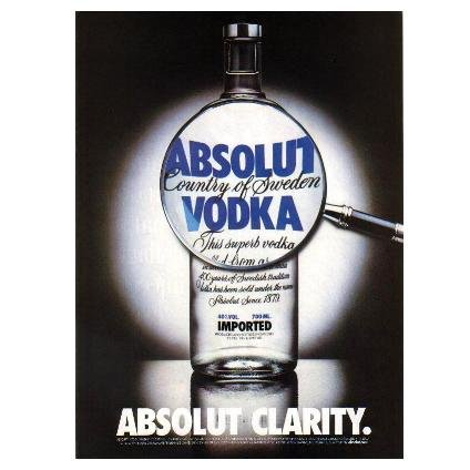 ABSOLUT CLARITY Vodka Magazine Ad