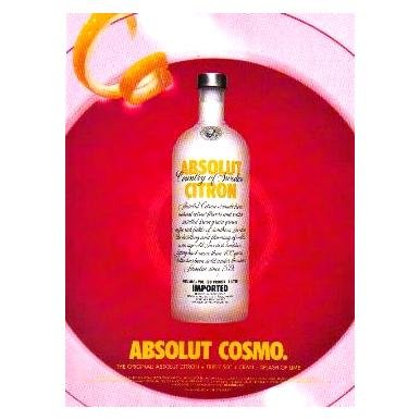 ABSOLUT COSMO Vodka Cocktail Recipe Magazine Ad
