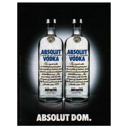 ABSOLUT DOM German Language Vodka Magazine Ad