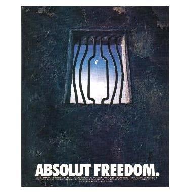 ABSOLUT FREEDOM Vodka Magazine Ad PRISON CELL WINDOW
