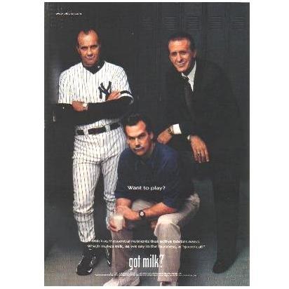 JOE TORRE, JEFF FISHER & PAT RILEY got milk? Milk Mustache Magazine Ad © 2000