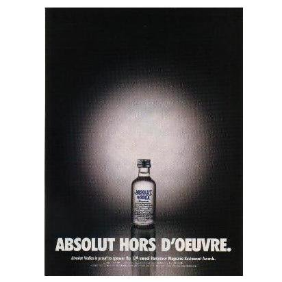 ABSOLUT HORS D'OEUVRE Vodka Magazine Ad 12th Restaurant Awards