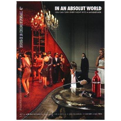 IN AN ABSOLUT WORLD Masquerade Spanish Language Vodka Magazine Ad
