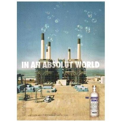 IN AN ABSOLUT WORLD Vodka Magazine Ad SMOKESTACK BUBBLES