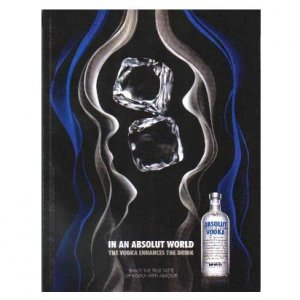 IN AN ABSOLUT WORLD Vodka Magazine Ad THE VODKA ENHANCES THE DRINK