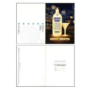 ABSOLUT MIDNITINI Vodka Ad Postcard & New Year's Eve Invitation