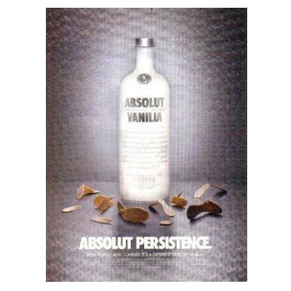 ABSOLUT PERSISTENCE Vodka Magazine Ad SLOPPY HEADLINE
