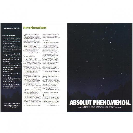 ABSOLUT PHENOMENON and ABSOLUT STAR GAZING Vodka Magazine Ad SEPTEMBER NIGHT SKY 2pp