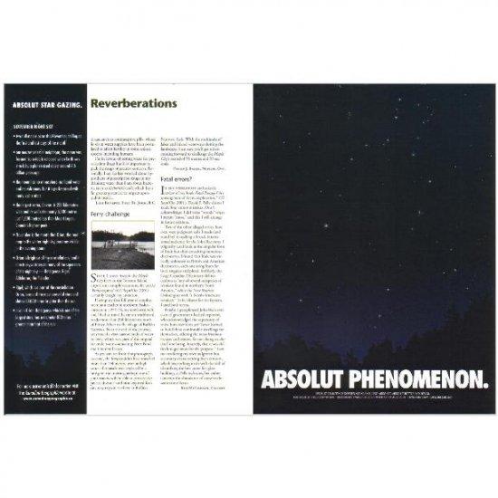 ABSOLUT PHENOMENON and ABSOLUT STAR GAZING Vodka Magazine Ad NOVEMBER NIGHT SKY 2pp