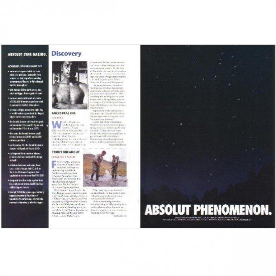ABSOLUT PHENOMENON and ABSOLUT STAR GAZING Vodka Magazine Ad NOVEMBER/DECEMBER NIGHT SKY 2pp