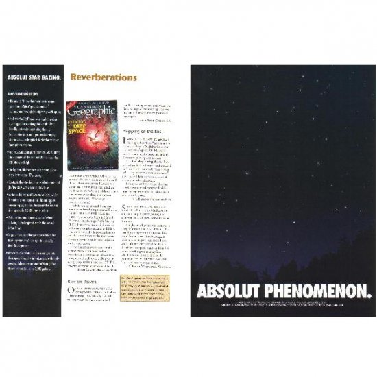 ABSOLUT PHENOMENON and ABSOLUT STAR GAZING Vodka Magazine Ad MAY/JUNE NIGHT SKY 2pp