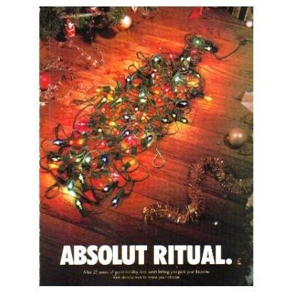 ABSOLUT RITUAL Vodka Magazine Ad w/ Holiday Ads Caption