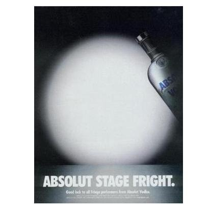 ABSOLUT STAGE FRIGHT Vodka Magazine Ad