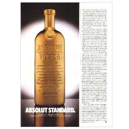 ABSOLUT STANDARD Vodka Magazine Ad 2/3rd Page